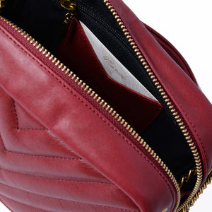 Rio Leather Shoulder Bag in Cherry