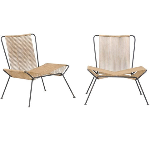Pair of 1950s String and Iron Chairs in the Style of Allan Gould
