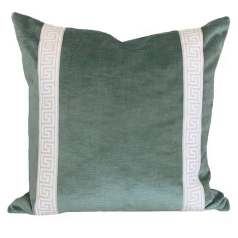 Ivy and Vine Seafoam Greek Key Pillow