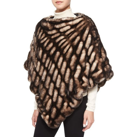 Shadow Mink Couture Faux Fur Poncho