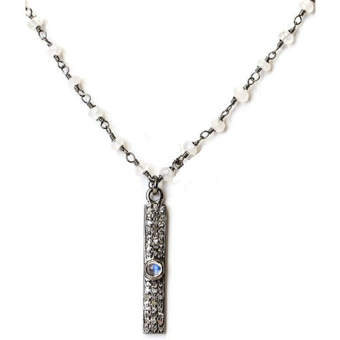 Cindy Ensor Rectangle Pave Diamond Necklace