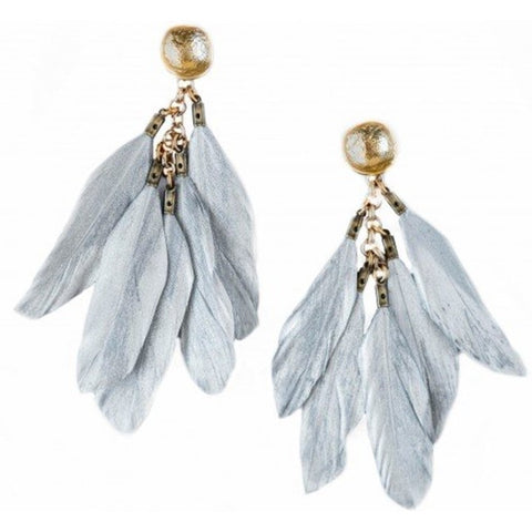 Shiver and Duke Silver Feather Earrings