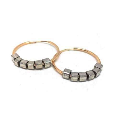 Erin Gray Design Silver and Gold Large Hoop Earrings