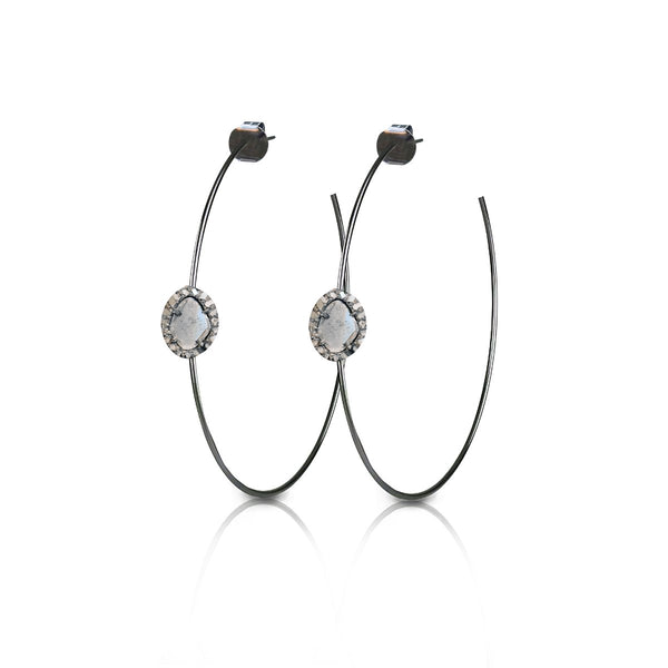 S. Carter Designs Sliced Diamond Hoop Earrings