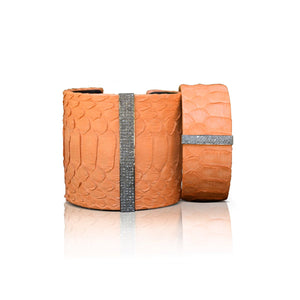 S. Carter Designs Orange Python Cuffs