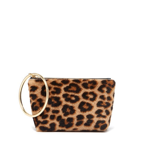 Small Ring Pouch in Leopard Shearling