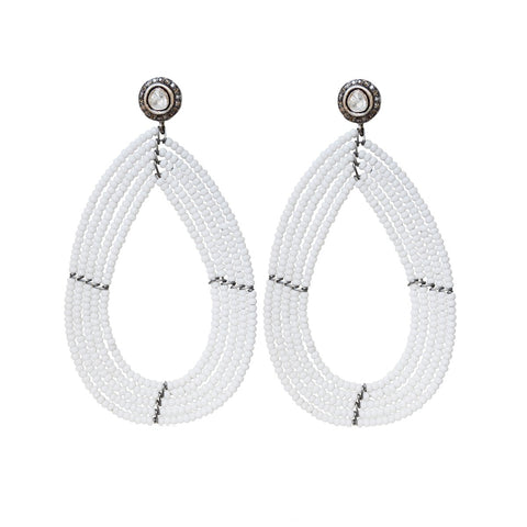 S. Carter Designs White Beaded Drop Earrings