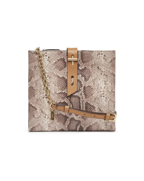 Snake Leather Crossbody Bag with Chain Strap