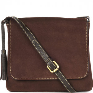 Loxwood Suede Anouk Messenger Bag in Chocolate