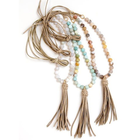 Cindy Ensor Suede Tassel Necklace