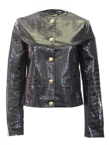 Tailored Faux Croc Jacket