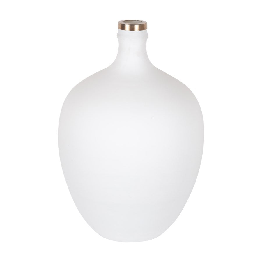 Matte White Glass Vase with Gold Rim