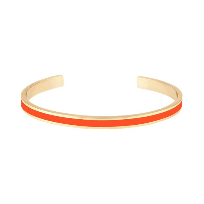 Thin Enamel Bangle in Tangerine