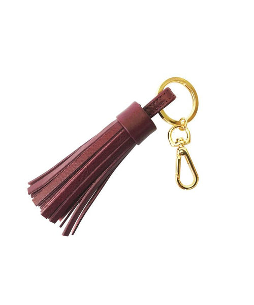 Stick & Ball Burgundy Leather Tassel Keychain
