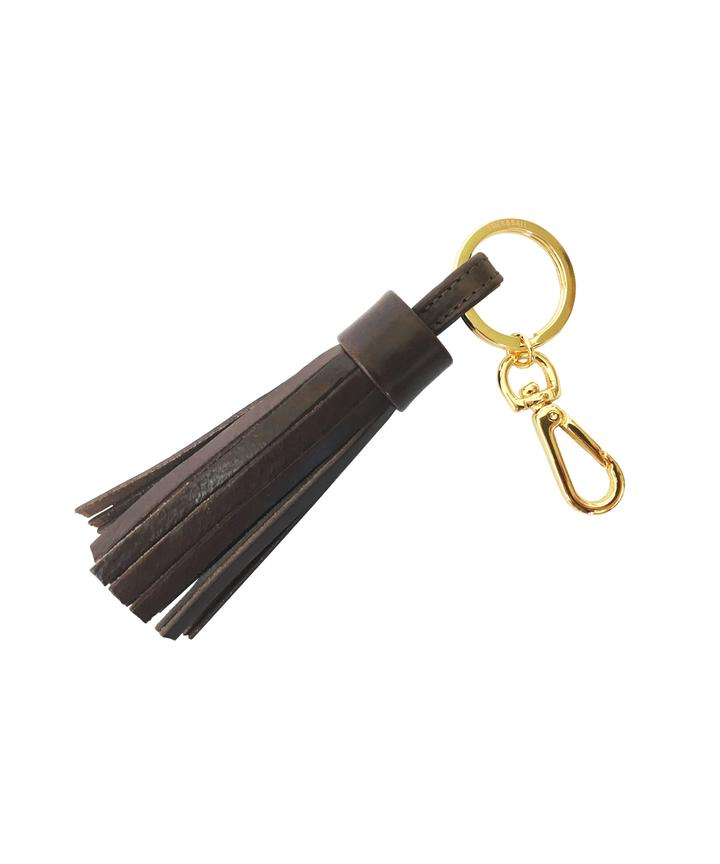 Stick & Ball Dark Brown Leather Tassel Keychain