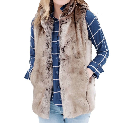 Timber Wolf Faux Fur Couture Hook Vest