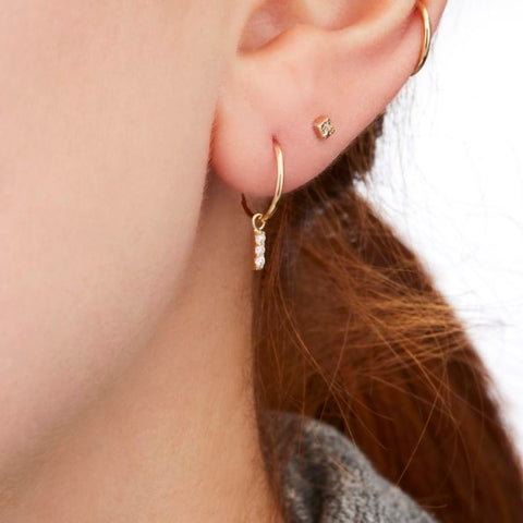 Vale Jewelry Tiny Hoop with Hanging 3-Diamond Bar Earrings