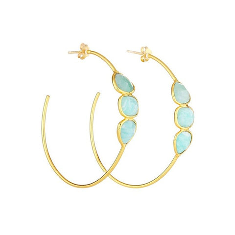 Elyssa Bass Designs Amazonite Triple Stone Hoops