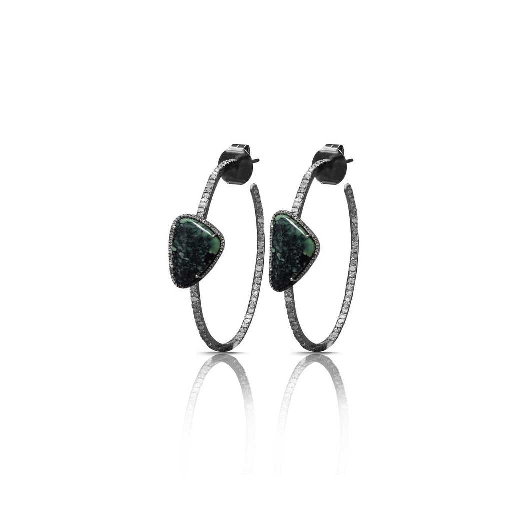 S. Carter Designs Turquoise Diamond Hoop Earrings