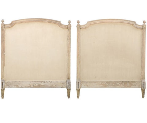 Pair of French Louis XVI Style Twin Bed Striped Wood Headboards, 19th Century