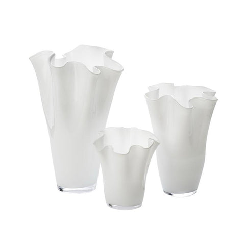 White Glass Ruffle Vases