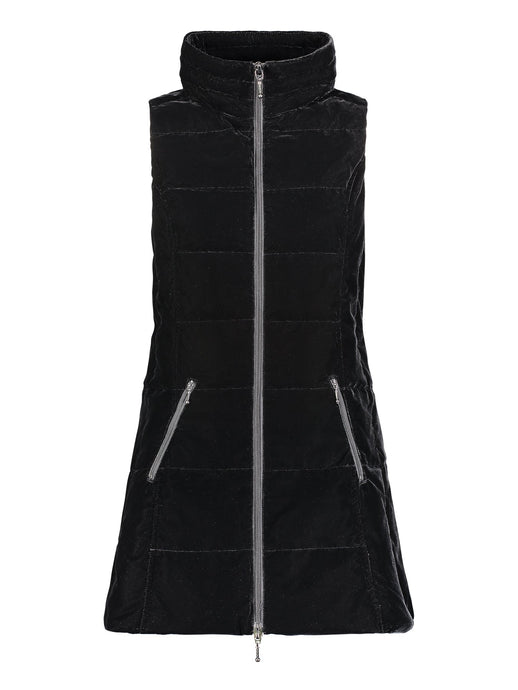Long Velvet Down Vest in Black
