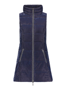 Long Velvet Down Vest in Navy