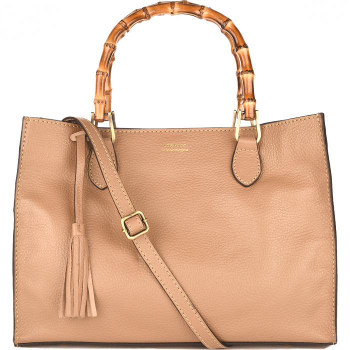 Loxwood Victoria Bag with Bamboo Handles in Beige