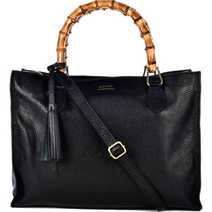 Loxwood Victoria Bag with Bamboo Handles in Black