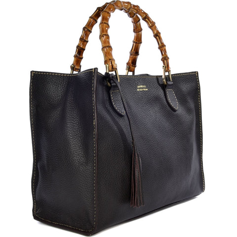Loxwood Victoria Bag with Bamboo Handles in Coffee