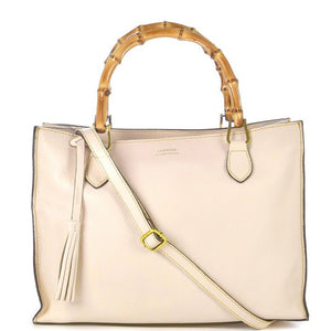 Loxwood Victoria Bag with Bamboo Handles in Cream
