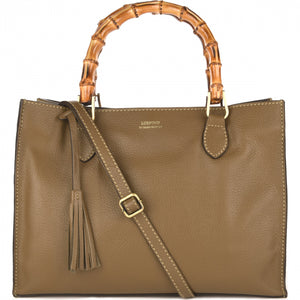 Loxwood Victoria Bag with Bamboo Handles in Tourterelle