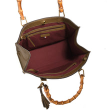 Load image into Gallery viewer, Loxwood Victoria Bag with Bamboo Handles in Tourterelle