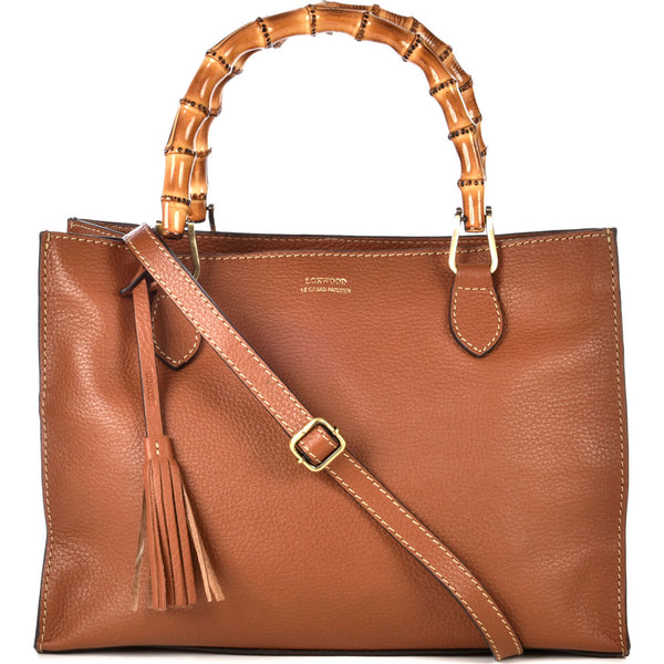 Loxwood Leather Victoria Bag with Bamboo Handles in Honey