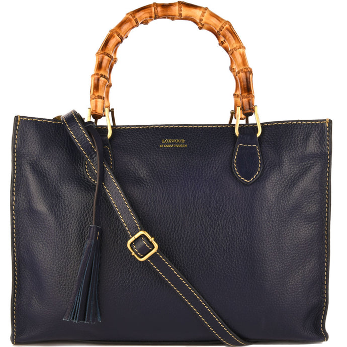 Loxwood Leather Victoria Bag with Bamboo Handles in Navy