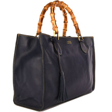 Load image into Gallery viewer, Loxwood Leather Victoria Bag with Bamboo Handles in Navy