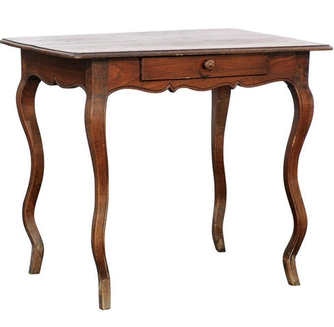 French Wooden Side Table with Single Drawer and Wavy Legs, circa 1900