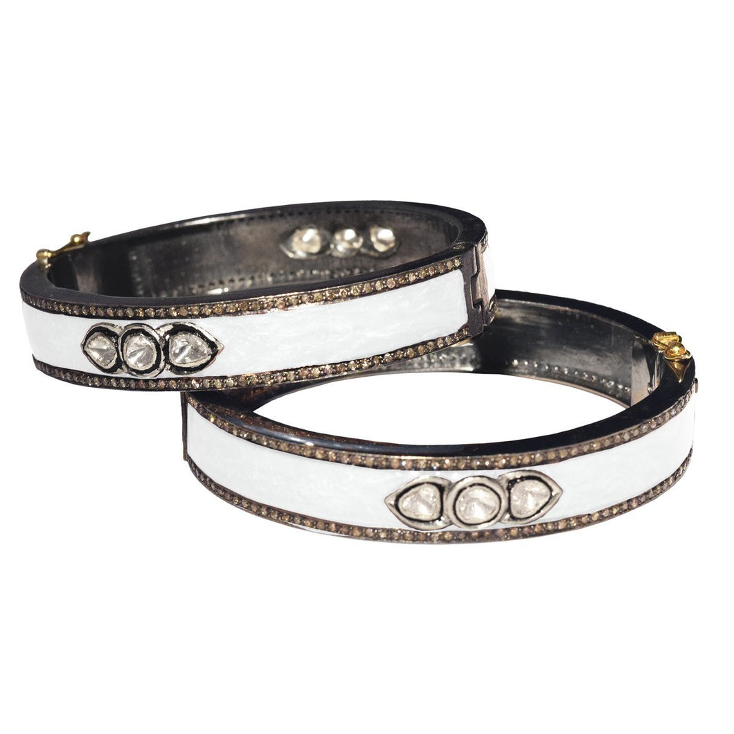 S. Carter Designs Enamel 3 Sliced Diamond Bracelet