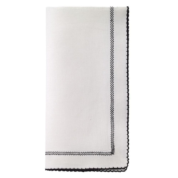 White & Black Linen Napkin