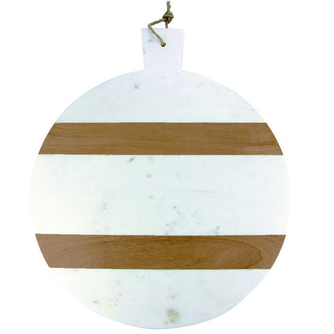 Large White Marble and Wood Stripe Round Board