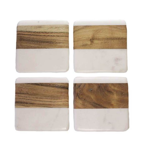 White Marble and Acacia Coaster Set