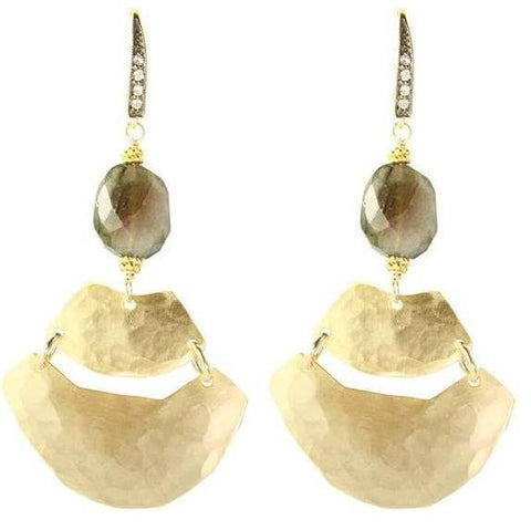 Robin Haley White Topaz Labradorite Hammered Earrings