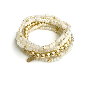 Erin Gray Design White and Gold Accent Stack Bracelet