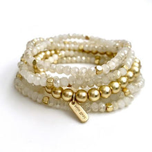 Load image into Gallery viewer, Erin Gray Design White and Gold Accent Stack Bracelet