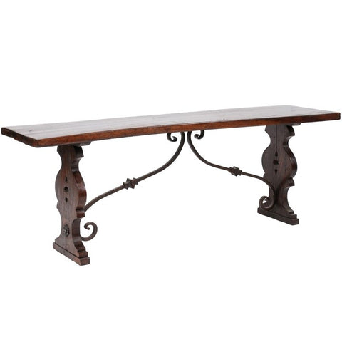 Early 20th Century Wood Table with Iron Base