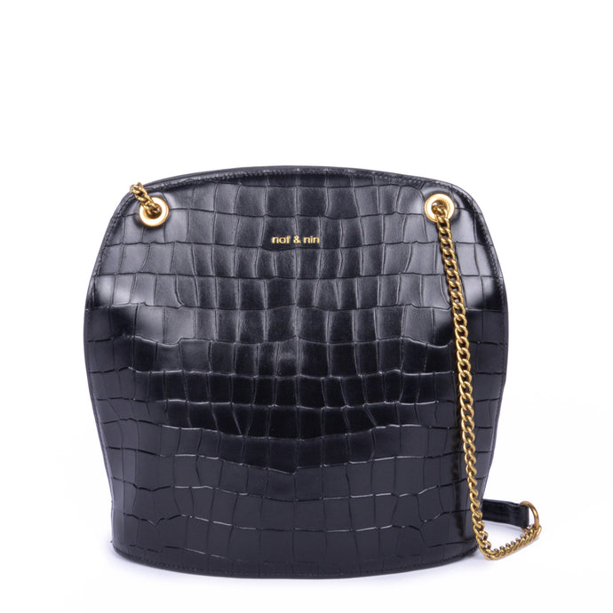 Yvonne Bag in Croc Black