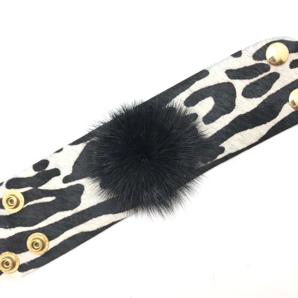 Shiver and Duke Mink Hide Black Zebra Bracelet
