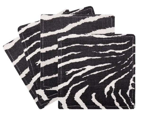 Zebra Linen Cocktail Napkins