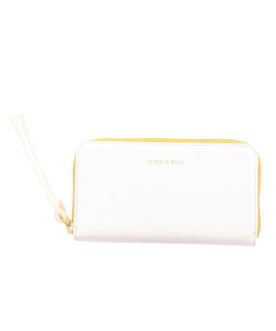 Stick & Ball White Zip Clutch Leather Wallet