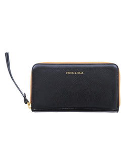 Stick & Ball Black Zip Clutch Leather Wallet